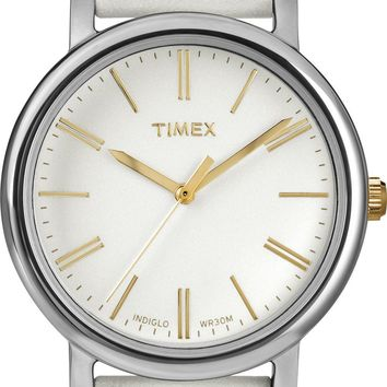 Timex Womens White Analog Leather Strap Watch