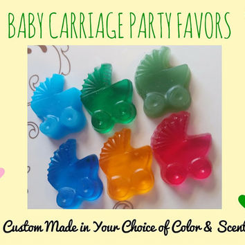 Stroller Baby Shower Soap Party Favors - Pram Carriage Baby sprinkle or gender reveal party custom color & scent for guests, pack of 25