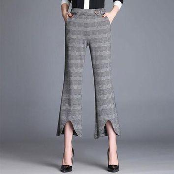 ICIKON3 plaid elegant Women trousers casual straight loose retro dance pants rave miyakefashion capris for Women 60k023