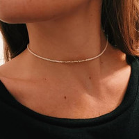 Ivory and Gold Bead Choker