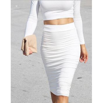 White Bodycon Midi-Skirt 12635