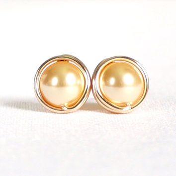 Gold Pearl Stud Earings, Gold Filled Post Earrings, Swarovski Pearl Stud Earrings, Wire Wrapped Jewelry Handmade, Gold Earrings