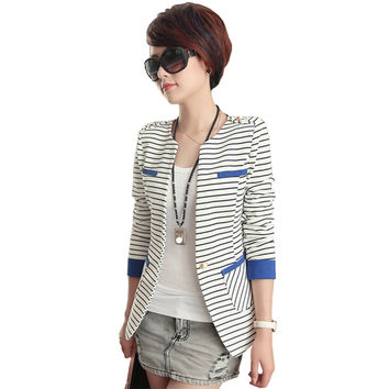 LinsDenim 2016 Blazer Women Slim Fit Blazer Suit Jacket Black White Striped Women Long-sleeve Blue Striped Suit Blazer Female