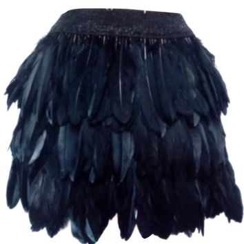 Black High Waist Feather Mini Skirt