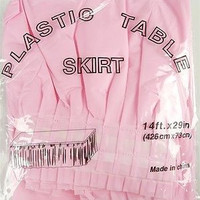 Plastic Table Skirt Adhesive Pleated, 29-inch x 14-ft, Light Pink