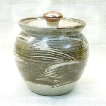 Studio Pottery Pot with Lid, Brown and Beige, Sugar Bowl, Pickle Jar, Round, Bulbous Shape, Speckled Glaze, Artisan, Rustic, Folk Art