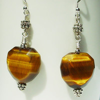 Tiger eye earrings, heart jewelry, silver gemstone jewelry