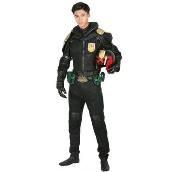 Judge Dredd Costume Black PU Cosplay Suit