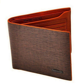 Men's Brown Leather Card Holder Bifold Unique wallet