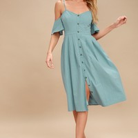 I've Got Love Slate Blue Off-the-Shoulder Midi Dress