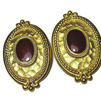 Large Gold Tone and Dark Red Vintage Clip On Earrings Hammered Oval Retro Womens