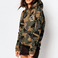 Criminal Damage Pull Over Hoodie In Geo Camo Print at asos.com