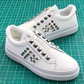Prada Studded Leather Platform Sneakers White - Best Online Sale