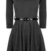 Hot Hanger Womens 3/4 Sleeve Skater Dress Charcoal Grey SM 8-10