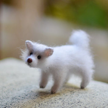 Miniature dog figurine dog lover gift animal figurine kawaii puppy dog animal sculpture fluffy white dog mini animals