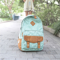 Fashion Polka Dot Print Canvas Backpack-Light Green