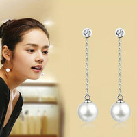 2016 Fashion Vintage Earrings Long Pearl Dangle Women Jewelry Rhinestone Boucle D'oreille Femme Pendante Brincos