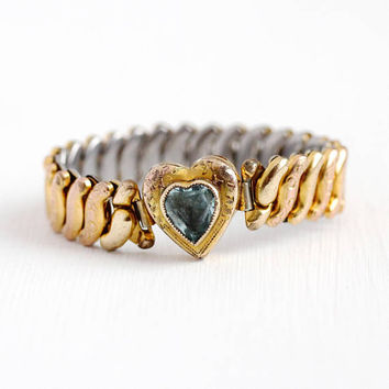Vintage Expansion Bracelet - Petite / Child's 10k Gold Filled Top Blue Glass Stone Heart Expansion Jewelry - 1940s Repousse Flower Co-Star