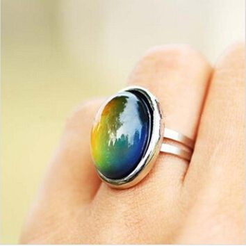 Crystal Jewelry Changing Color Mood Ring Temperature Emotion Feeling RINGS MOOD Adjustable Size Gifts event party  Supplies