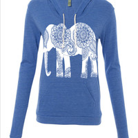 Womens Paisley ELEPHANT Hoodie Tshirt Lightweight Sweatshirt Hooded Alternative Apparel Gray, Blue, Pink, Black
