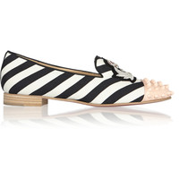 Christian Louboutin - Intern studded striped canvas slippers