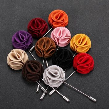 JINSE Fashion 15 Colors Flower Wedding Brooch Bouquet Gentleman Lapel Pin Men Suits Accessories Vintage Mens Brooches Pins MD038