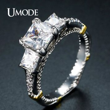 UMODE Design Two Tone Color Three Stone Ring for Women Anniversary Wedding Bands Wedding Party Fashion Jewelry Accesorios UR0400