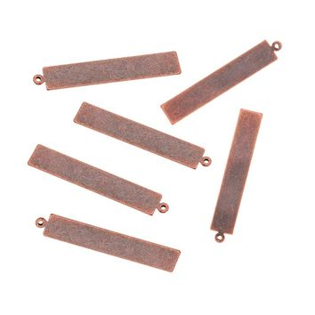 50pcs 41x7x0.3mm Metal Tags Metal Brass Blank Stamping Jewelry Charm Pendants for Men Women Necklace Making DIY Rectangle