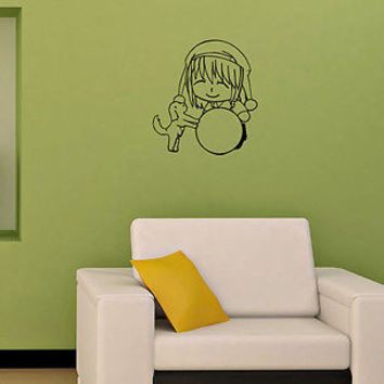 Wall Mural Vinyl Decal Sticker Design Interior Little anime boy with dog OS589