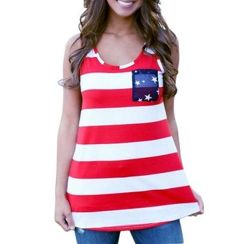Fashion Women Summer Sexy Sleeveless Tops American Usa Flag Print Stripes Tank Top For Woman Blouse Vest Shirt