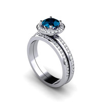 Platinum London Blue Topaz Engagement Ring & Wedding Band Diamond Halo Wedding Set December Birthstone