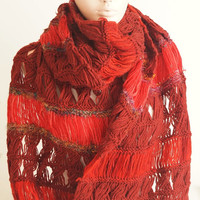 Handmade, Colorful Knitting Scarf, Long Scarf, Authentic Wrap, Wool Scarf