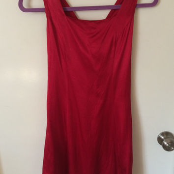 Vintage silk red dress w/ red slip