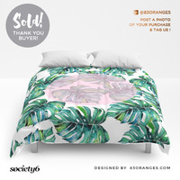 'Monstera' Comforter ~ Sold! #society6 #homedecor #duvetcovers #comforters by 83 Oranges™   Society6