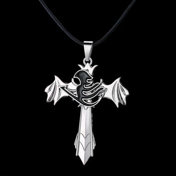 Fairy Tail Metal Cross Anime Necklace