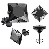 Back in Black - Black Cubic Zirconia Stainless Steel Stud Earrings