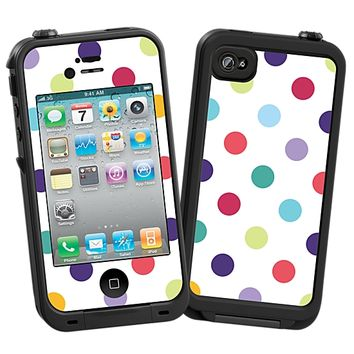 Polka Dot Explosion on White Skin for the iPhone 4/4S Lifeproof Case by skinzy.com
