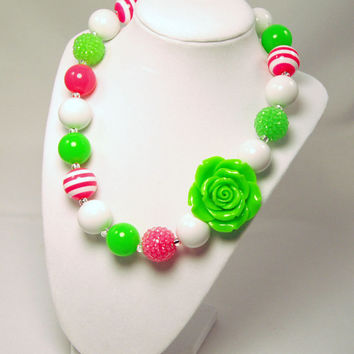 Girls Neon Boutique Jewelry Neon Green and Pink Beaded Necklace Flower