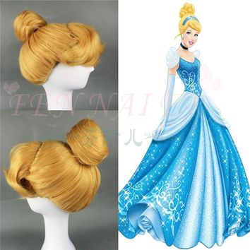 Halloween Cinderella Princess Cosplay Wig Yellow wig Role Play Classic Cinderella Updo Styled Role Play Wig