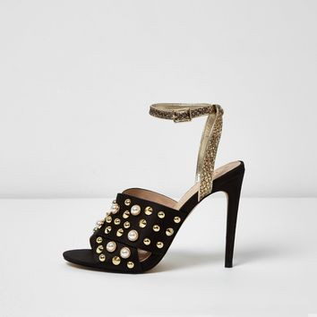 Black embellished cross strap heel sandals