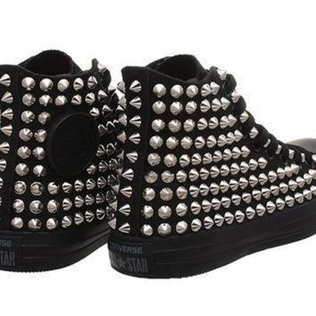 DCCK1IN studded converse converse all black high top with silver cone studs by customduo on e