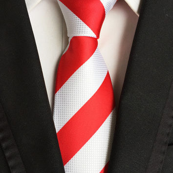 Red & White Polyester Stripe Necktie