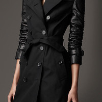 Long Gabardine Python Sleeve Trench Coat