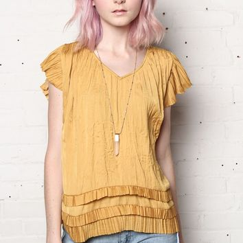 Marigold Pleated Ruffle Trim Top