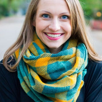 Plaid Infinity Scarf Teal