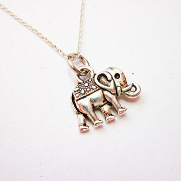 Tiny Sterling Silver Elephant Necklace, Little Dainty elephant Charm on Sterling Silver Fine Chain Sterling silver Necklace elephant jewelry