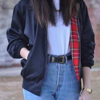 Navy Red Plaid Jacket