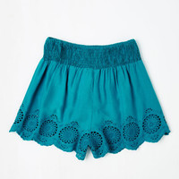 Folk Art Short Length Give It a Triumph Shorts in Turquoise