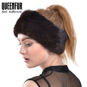 QUEENFUR 2016 Winter New Mink Fur Scarf Women Real Mink Fur Hat Knit Mink Fur Headband Muffler Ring Russian Elastic Neckerchief