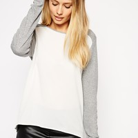 ASOS Top with Woven Front & Baby Rib